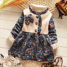 Vestidos Das Meninas do bebê 2016 Outono/Inverno Moda Manga Longa de Impressão Floral vestido de Algodão Do Miúdo Criança Roupa das crianças Do Vestido Do Vintage