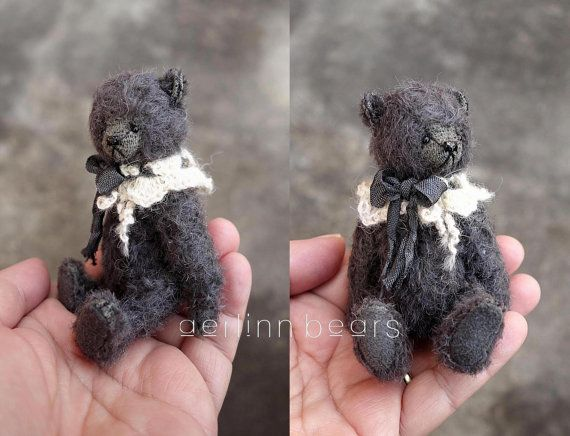 Bastian miniatuur 4 Mohair kunstenaar teddybeer door aerlinnbears