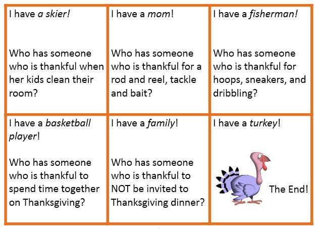 Thanksgiving Inference Game Who Has Somone Who Is Thankful For