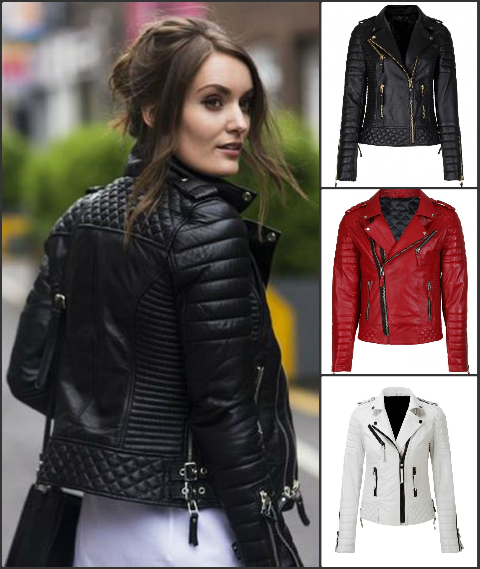 Katie Black Ladies Women/'s Rock Chic Retro Style Real Soft Sheep Leather Jacket