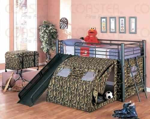Coaster Kid S Gi Child Bunk Bed With Slide And Tent Twin Size 7470