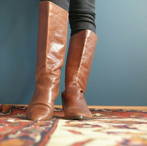 Vintage Leather Boots - Brazilian Made Beautiful chestnut brown leather, man made sole (no cracks!), Size 8, scuffs on toes and a dark spot on outer calf which was there when I purchased. Very low 1/2 inch heel. Just don't wear anymore,  and these lovelies need a good home! Vintage Shoes Heeled Boots