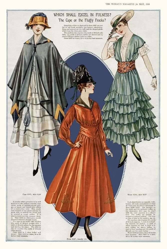 Fluffy Frocks and Capes ~ The Women\'s Magazine, May 1916 - when you ...
