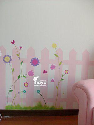 Mayomural mural arbol y jardin con flores murales para for Mural para habitacion