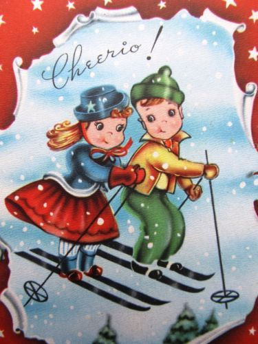 LITTLE SKIERS X-MAS CARD | Vintage Christmas Cards | Pinterest