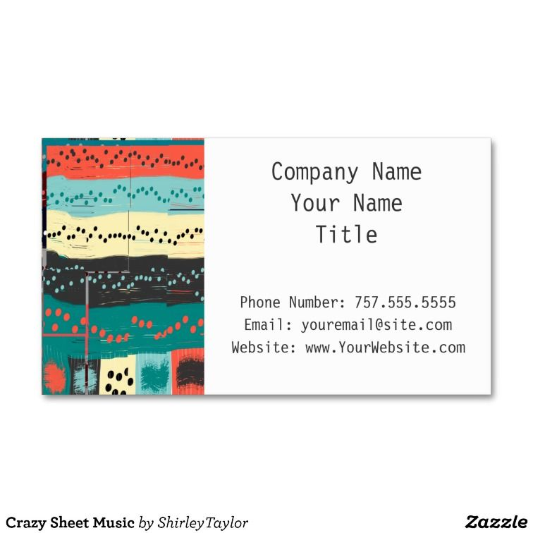 crazy sheet music business card template zazzle sold from my