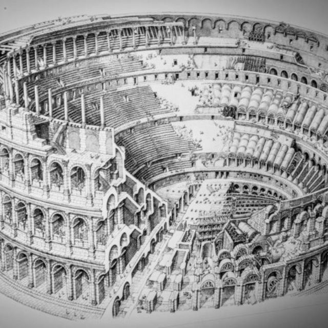 Drawing Of Coliseum Colosseum Ancient Rome Architecture Building