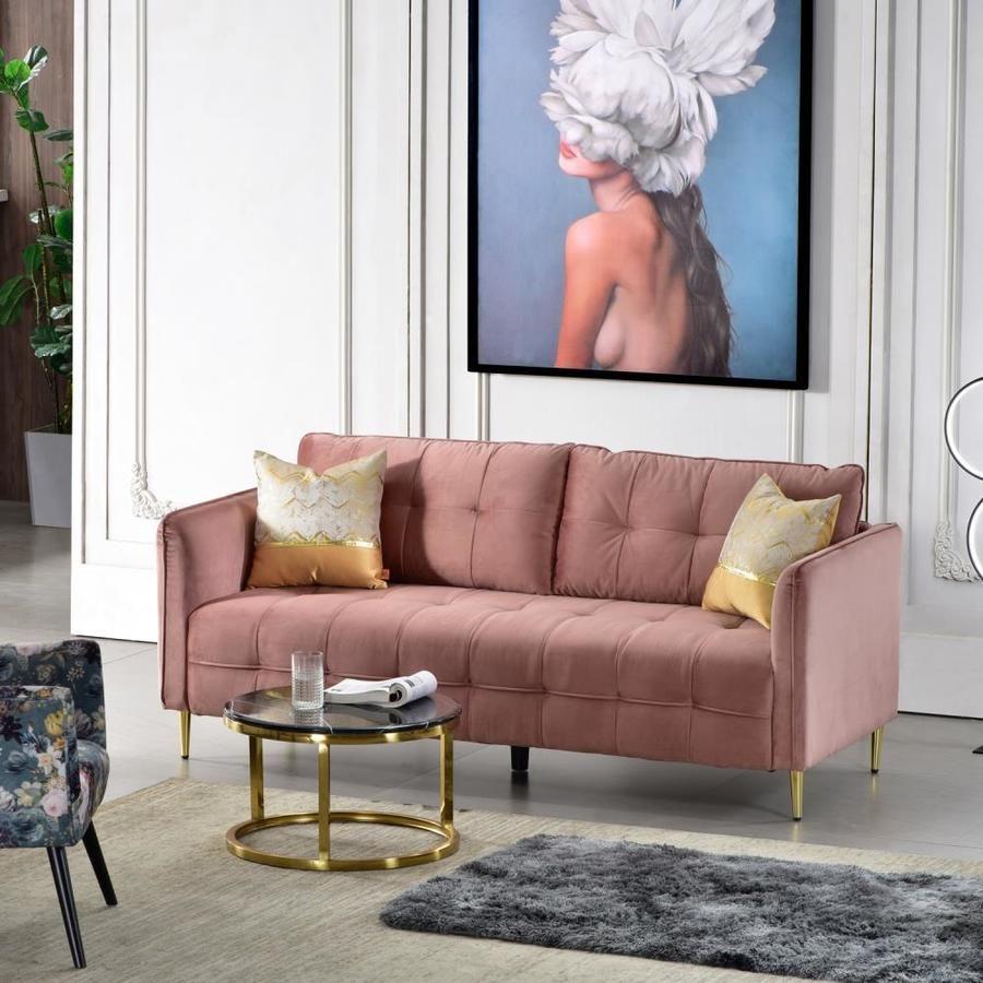 Ovios Nouat Modern Rose Velvet Sofa Lowes Com Pink Couch Living Room Mauve Living Room Pink Sofa Living