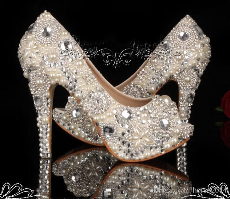 Unique Ivory Pearl Rhinestone Wedding Dress Shoes Peep Toe High