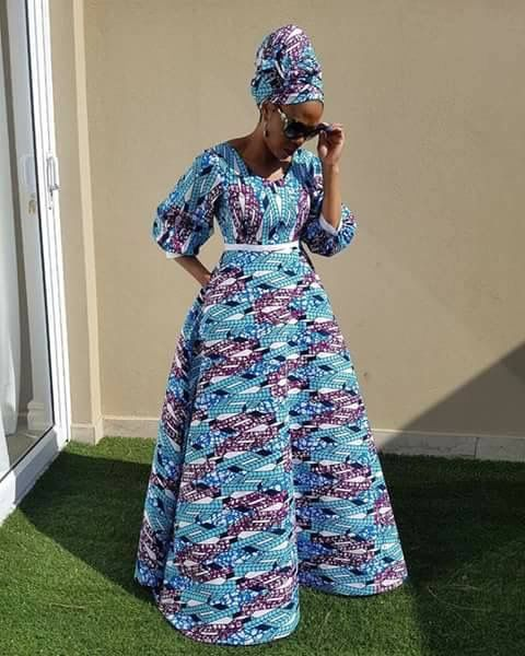 Longue Robe Tissu Pagne Avec Foulard Tres Classe African Print Fashion Dresses African Maxi Dresses African Clothing Styles