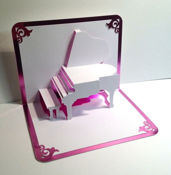 Pop Up Cards Making Ideas Part - 48: GRAND PIANO 3D Pop Up Card Origamic Architecture Home Decoration, Handmade,  Handcut, ,