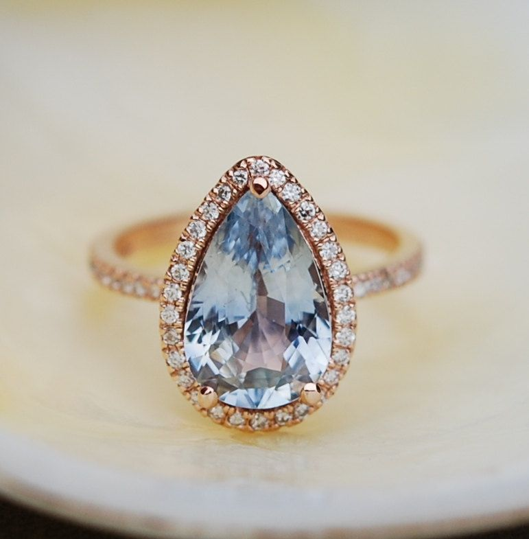 »Blue #Sapphire #Engagement #Ring 14k Rose #Gold by #EidelPrecious« #wedding #weddinginspiration #jewelry