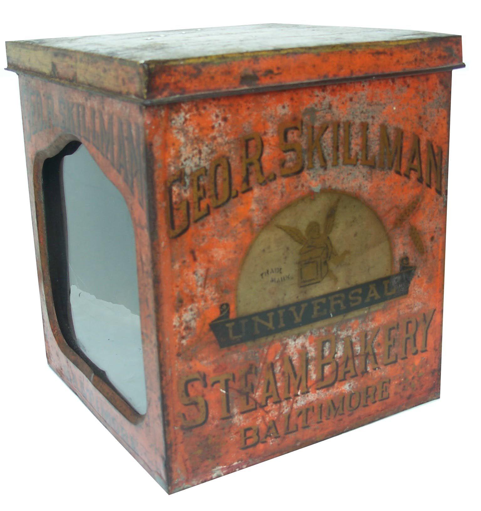 19th C. tin store counter bin - Geo. R. Skillman – Steam Bakery – Baltimore