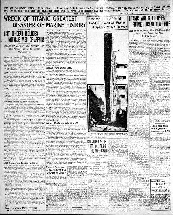 Titanic: Denver Post Coverage From 1912