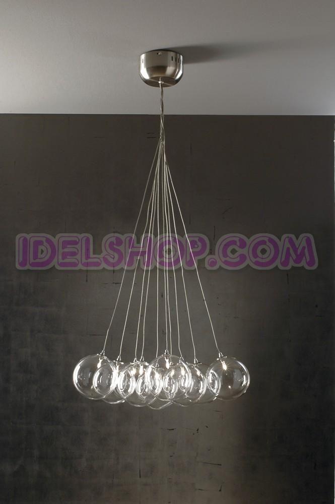 Lampadario Sospensione Vetro Trasparente.Lampadario Sospensione Ball 10 Luci Trasparente Lampadari Vetro