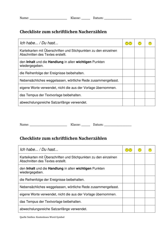 Checkliste Nacherzahlen Unterrichtsmaterial In Den Fachern Deutsch Fachubergreifendes In 2020 Checkliste Schreibkonferenz Unterrichtsmaterial