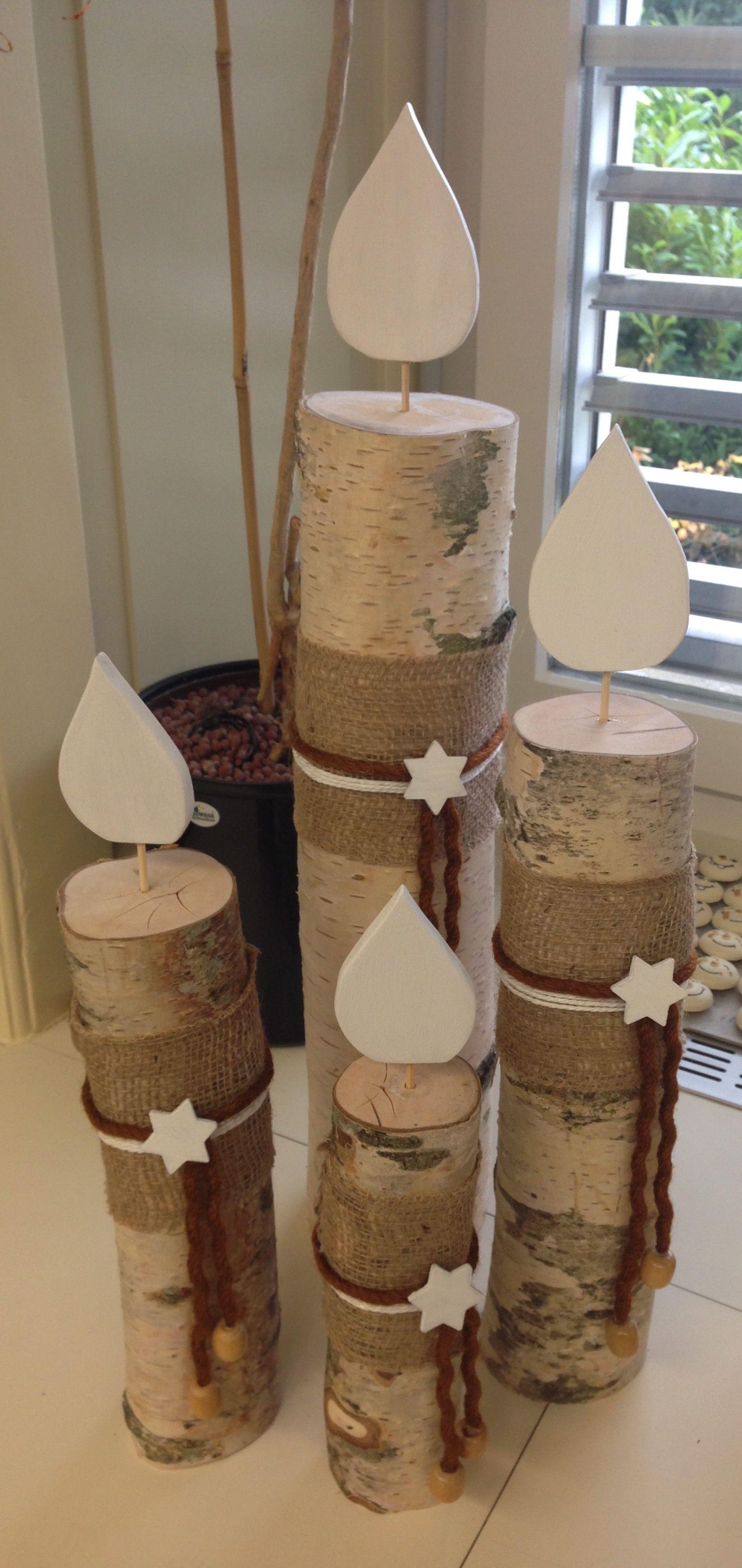Kerzen aus einem Birkenstamm basteln Pinterest
