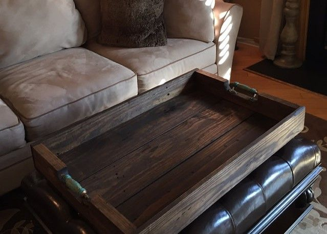 Custom 36 X 24 Ottoman Tray Looks Beautiful In Its New Home Ottoman Tray Wood Ottoman New Homes