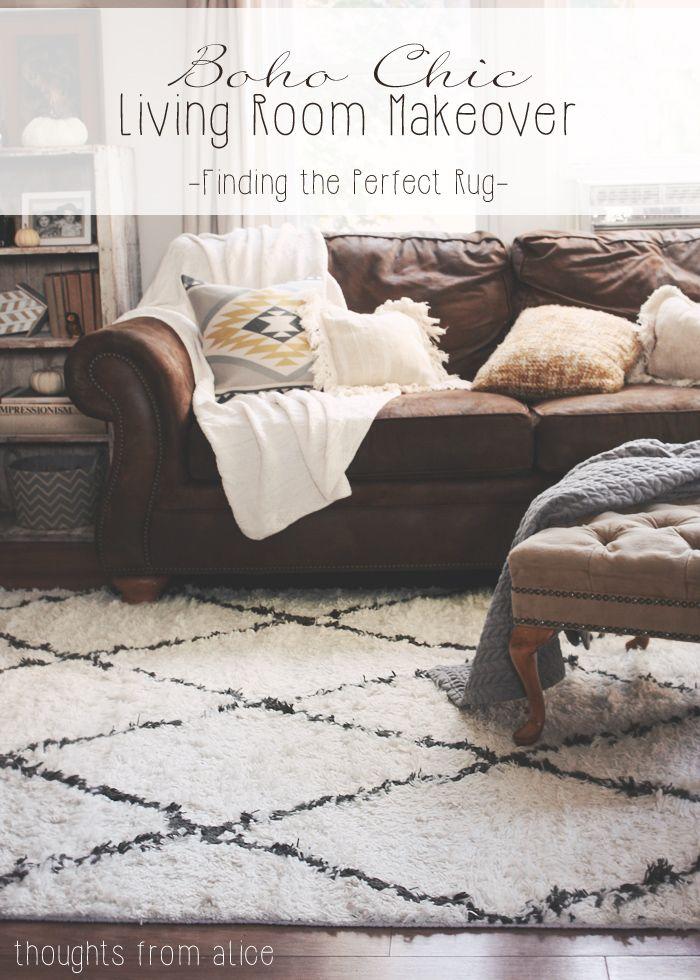 Boho chic living room makeover finding the perfect rug for Bohemian chic living room makeover