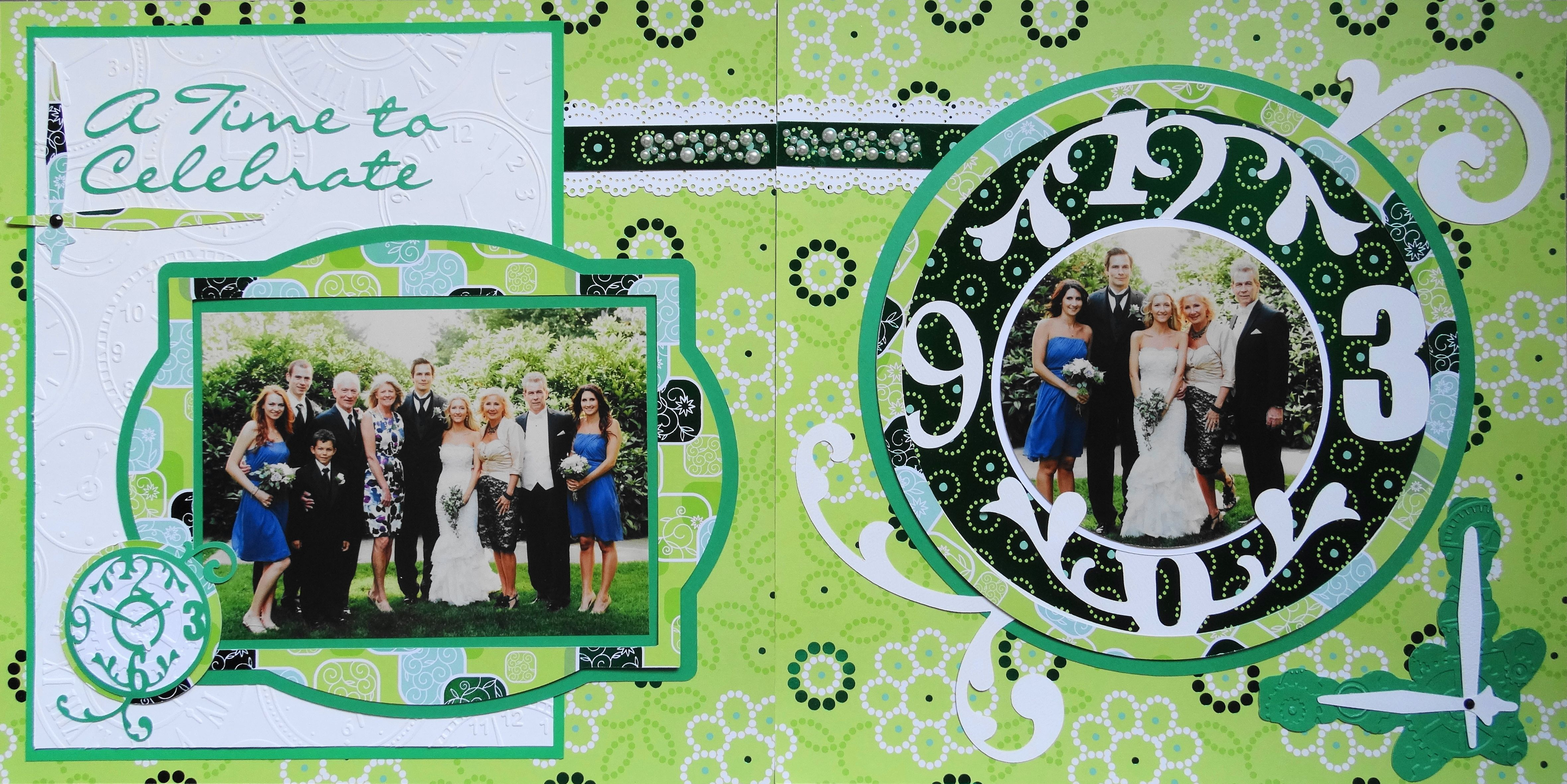 Wedding scrapbook ideas using cricut - Wedding Scrapbook Page A Time To Celebrate 2 Page Wedding Layout With Clock Theme