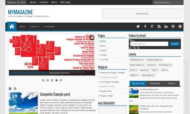 My Magazine Premium Blogger Template - Templates Doctor   Free ...