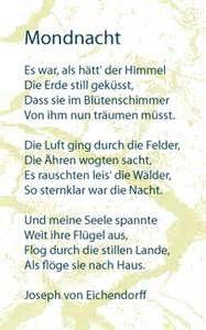 Mondnacht Joseph Von Eicherdorff Gedichte Romantische