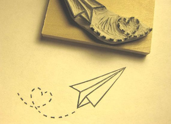 Paper Plane and Cloud Rubber Stamp Set Air Mail Hand por extase
