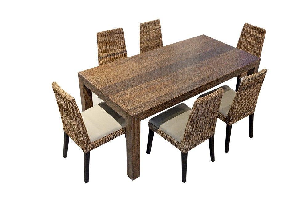 Conjunto de mesa de comedor rectangular de madera y bamb for Mesas y sillas de comedor en carrefour