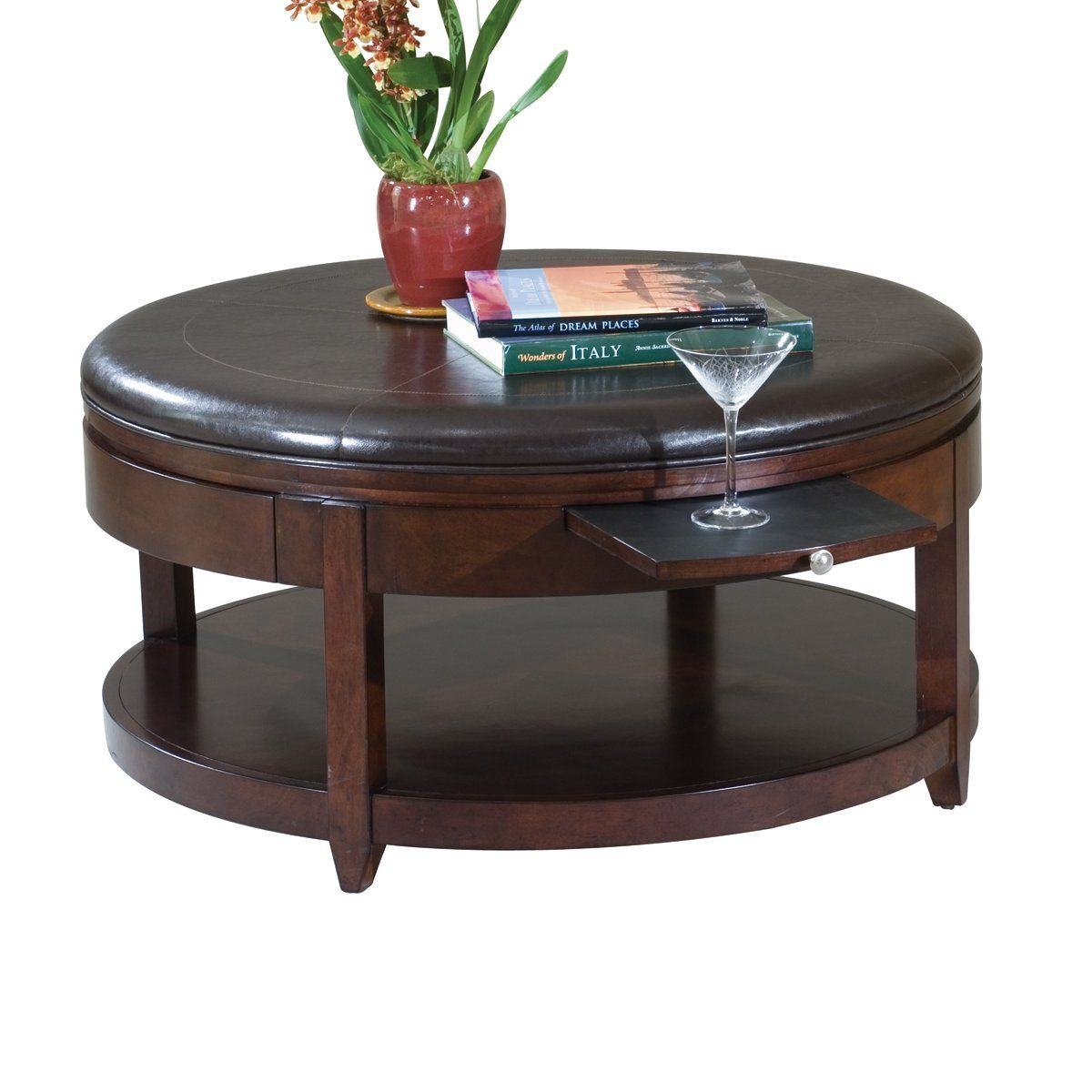 Magnussen Home T1096-45 Brunswick Round Cocktail Table with Casters ...