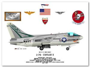 Profile drawing of an A-7B Corsair II of VA-155 by George Bieda