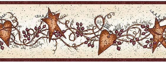 Country Hearts And Stars Kitchen Decor Wallpaper Border Fam65171b Primitive Scarbrough Star