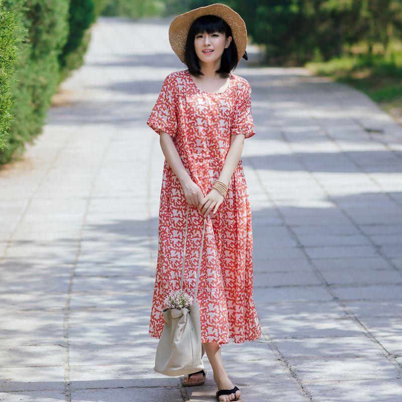 Beach Style Linen Floral Dress Short Sleeve Plus Size Maxi Dress