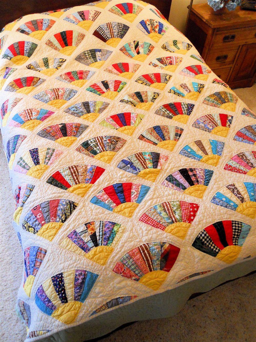 Vintage Fans Patchwork Twin Size Quilt Fan Quilts Pinterest