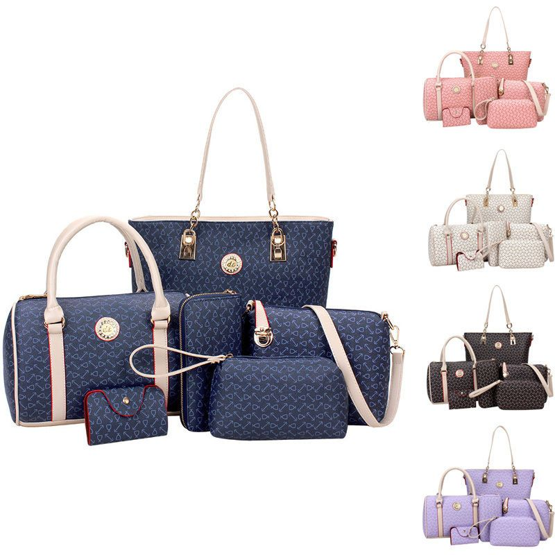 Women Shoulder Bag Pu Leather Tote Handbag Crossbody Hobo Purse 6 Pcs Sets
