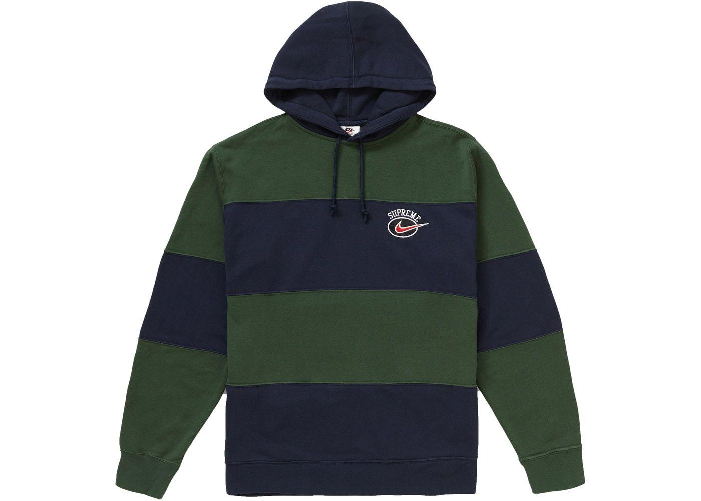 Supreme Nike Stripe Hooded Sweatshirt Navy In 2021 Hooded Sweatshirts Sweatshirts Hoodies Design [ 1000 x 1400 Pixel ]