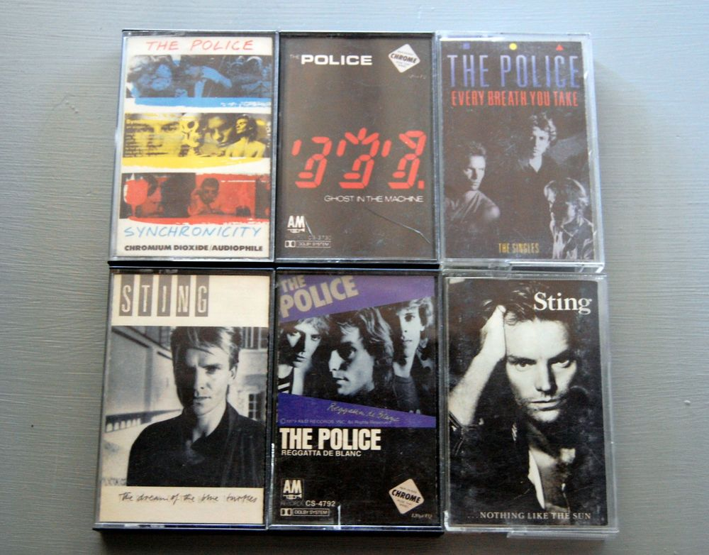 #ThePolice #Sting 80's lot 6 #Cassette Tapes Ghost Machine Music Reggatta Every Breath