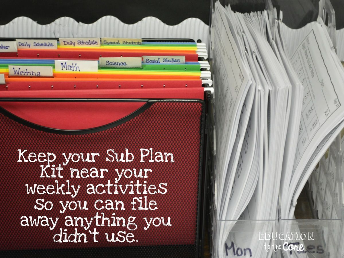 Create A Simple, Easy, and Free Emergency Sub Plan Kit #emergencysubplans Education to the Core: Create A Simple, Easy, and Free Emergency Sub Plan Kit #emergencysubplans