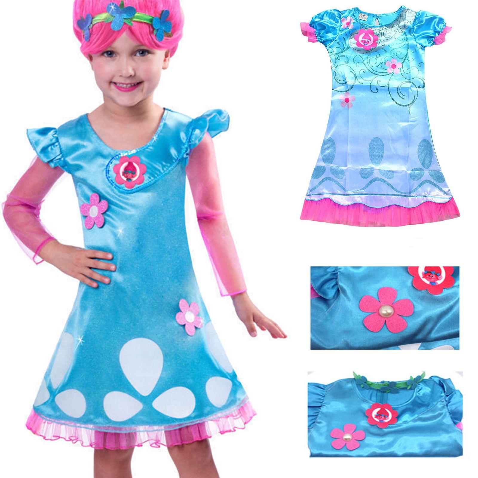 Kids Girl Lovely Dress Wig Trolls Poppy Costume Child Cosplay Party ...