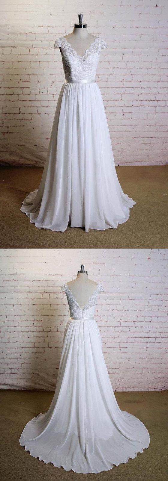 Elegant aline floorlength vneck cap sleeve lace top simple
