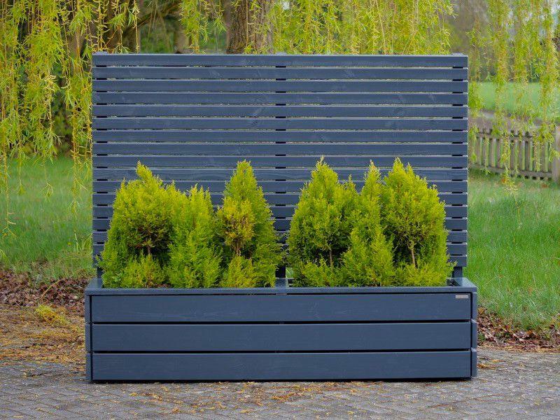 pflanzkasten mit sichtschutz anthrazit grau als abgrenzung f r terrasse balkon uvm in versc. Black Bedroom Furniture Sets. Home Design Ideas