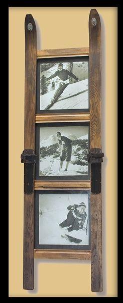 3 Pane Ski Frame With Vintage Ski Photos Larger Size Repurposed