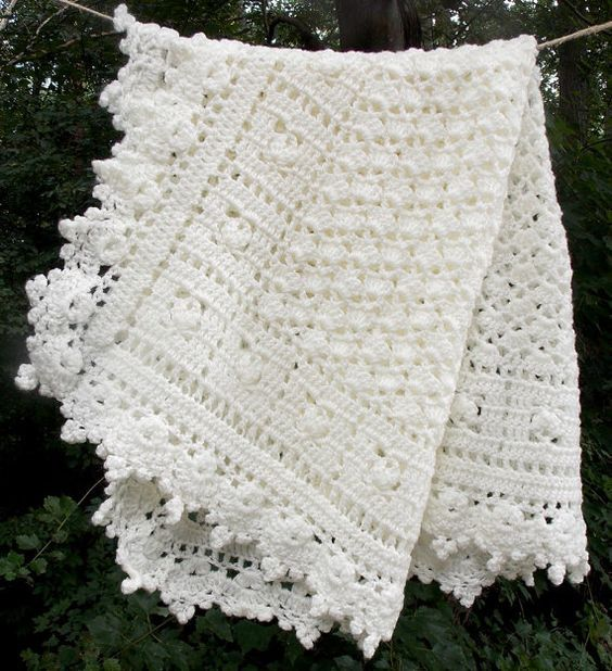 Ivory Baby Blanket Crochet Baby Cream Afghan Carseat cover READY TO ...
