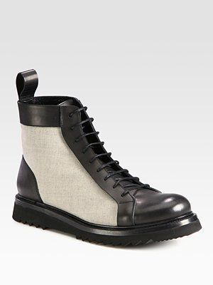Christian Dior Leather & Canvas Lace-Ups $555