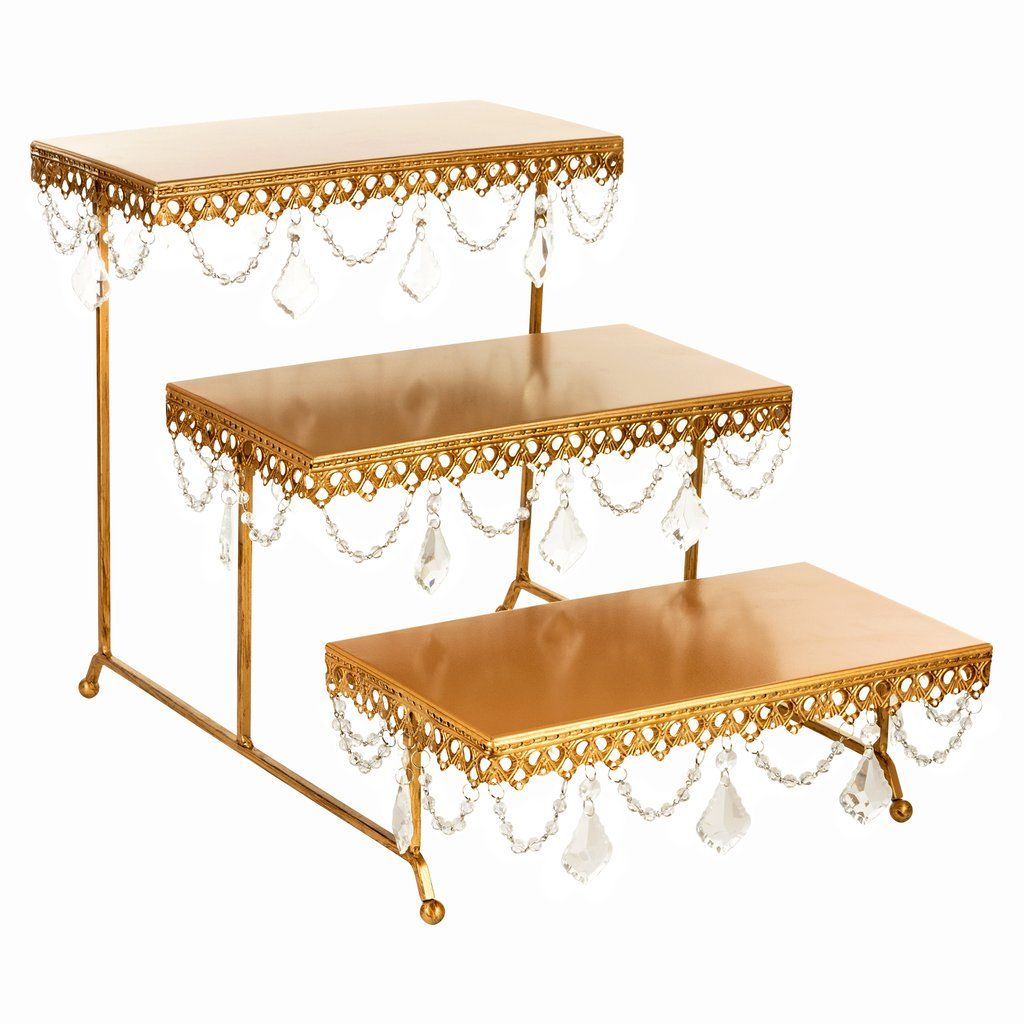 3 Tier Serving Platter And Cupcake Stand With Crystals Gold Tiered Stand Decor Dining Room Sideboard