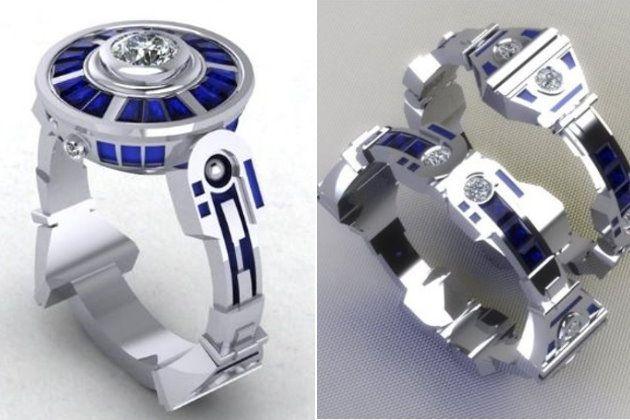 R2D2 engagement and wedding rings Star Wars Wedding Pinterest