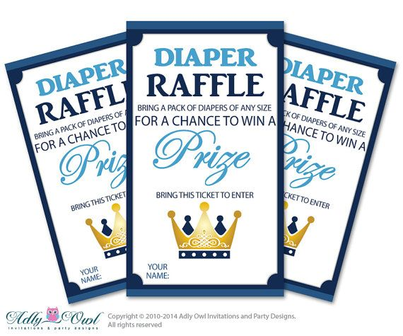 boy prince diaper raffle tickets printable for baby boy shower diy