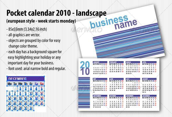 Pocket calendar 2010 landscape european Pocket calendar, Print
