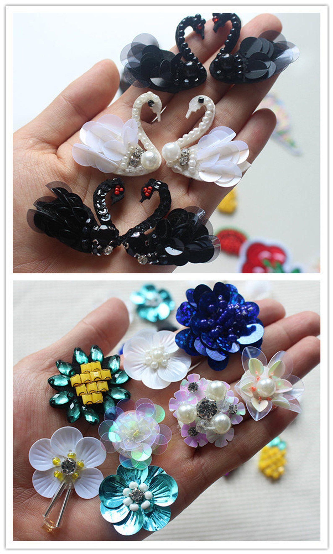 2 pcs À faire soi-même Mignon Perles Strass Fleur Appliques Patches Sew On Pour Vêtements Sac