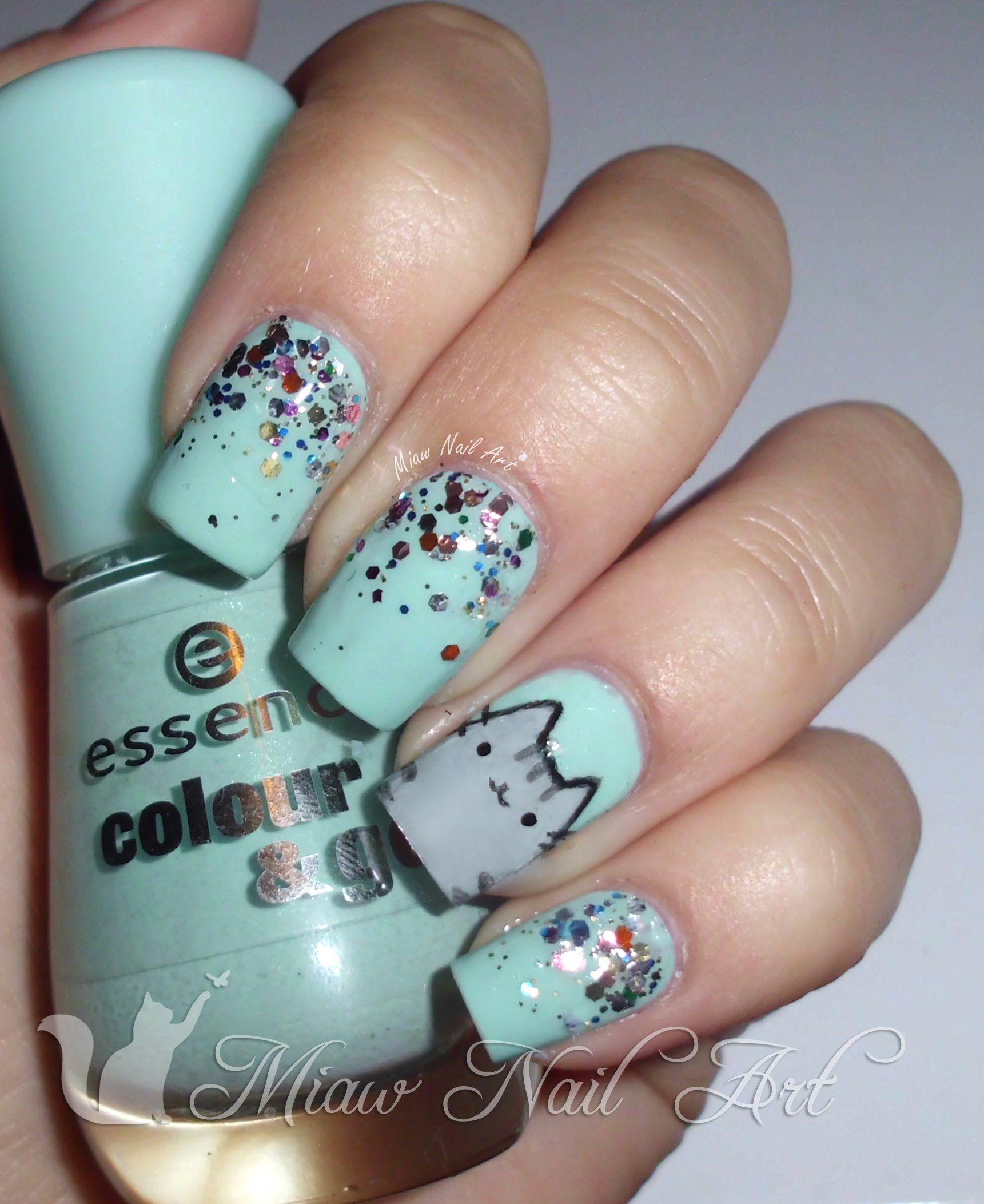 Pusheen Nails By Maureen Nicole A Kawaii Nail Art Fashion Nails Nail Art