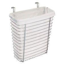 Chrome Metal Kitchen Bath Cabinet Garbage Storage Can Waste Trash Basket